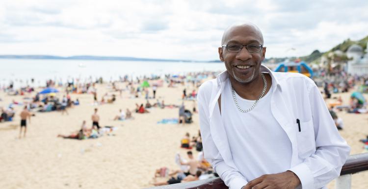 Man at the beach, healthy